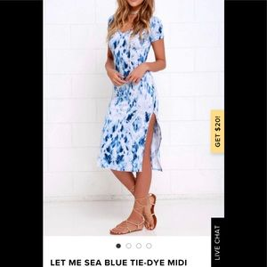 Lulu's LET ME SEA BLUE TIE-DYE MIDI DRESS NWOT
